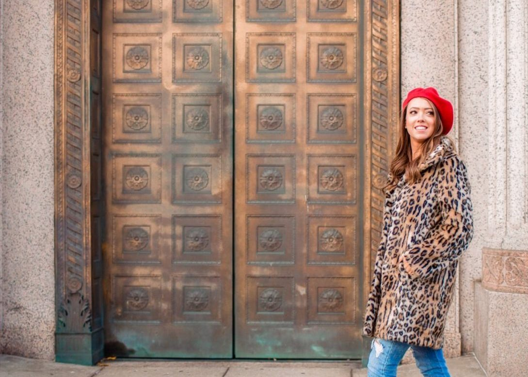 leopard coat and beret for easy fall style