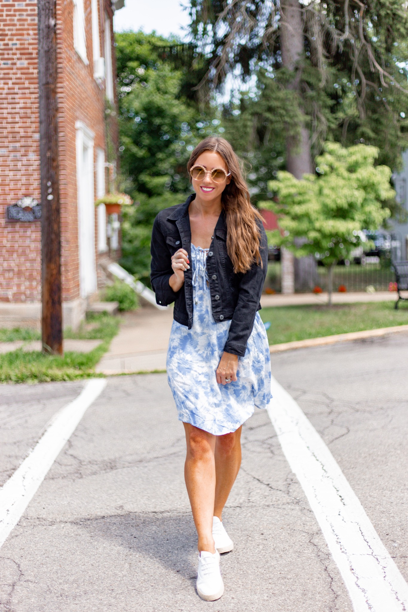 tie dye dress with black denim jacket