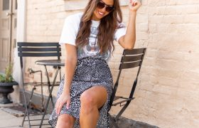 Graphic tee paired with midi skirt